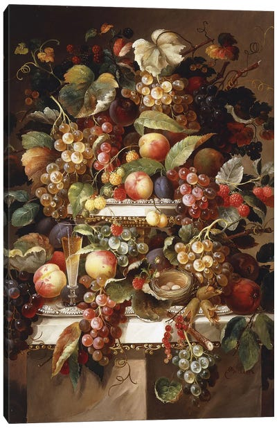 Still Life with Grapes and Peaches, Canvas Art Print