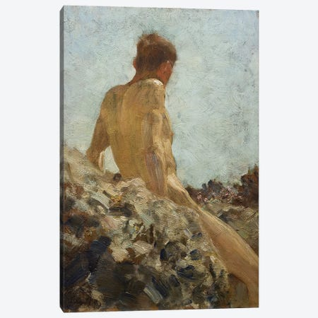 Nude Study Canvas Print #BMN9366} by Henry Scott Tuke Canvas Print