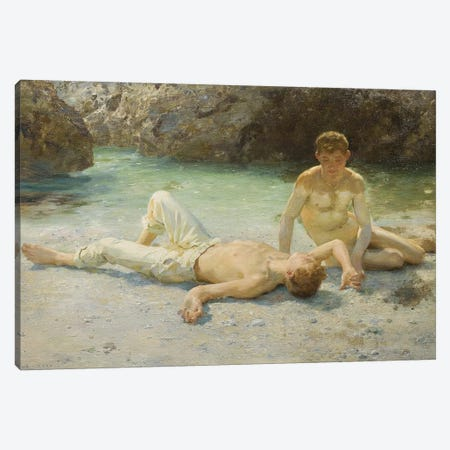Noonday Heat, 1902-3 Canvas Print #BMN9369} by Henry Scott Tuke Canvas Art