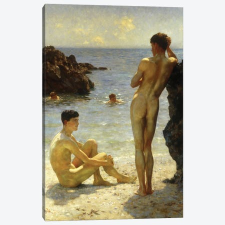 Lovers Of The Sun Canvas Print #BMN9370} by Henry Scott Tuke Canvas Art Print