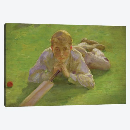Henry All In Cricketing Whites 3-Piece Canvas #BMN9371} by Henry Scott Tuke Art Print