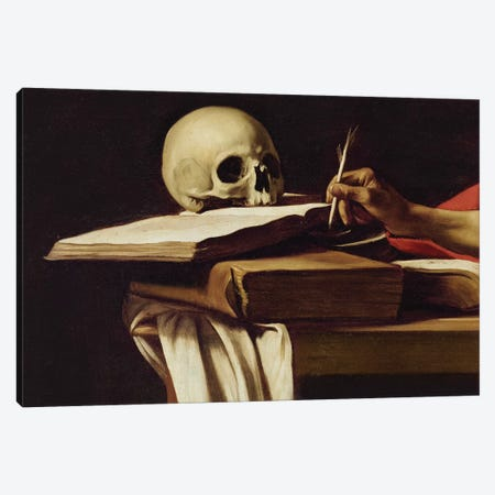 St. Jerome Writing, c.1604 Canvas Print #BMN9376} by Michelangelo Merisi da Caravaggio Canvas Artwork
