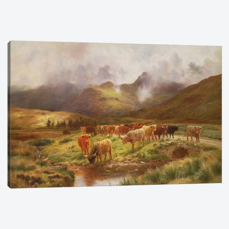 A Highland Drove at Strathfillan, Perthshire Canvas Print #BMN937} by Louis Bosworth Hurt Canvas Print