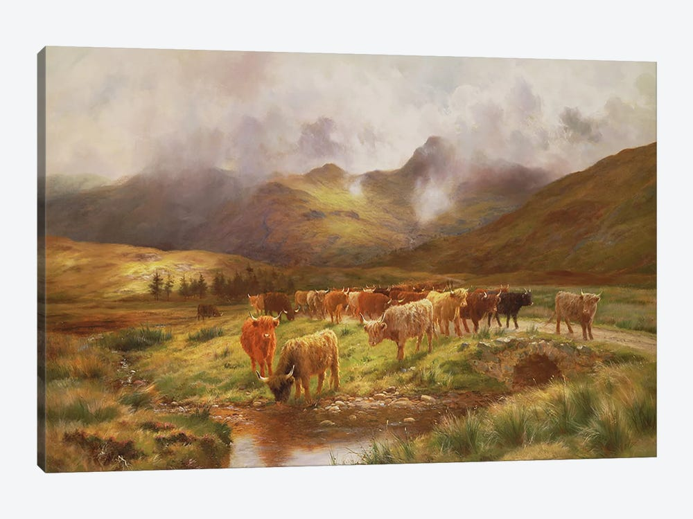 A Highland Drove at Strathfillan, Perthshire by Louis Bosworth Hurt 1-piece Art Print