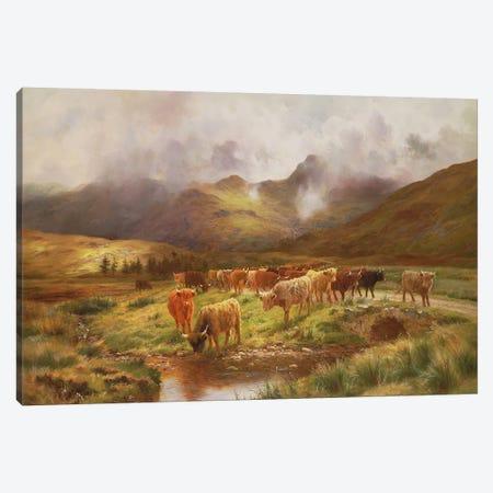 A Highland Drove at Strathfillan, Perthshire Canvas Print #BMN937} by Louis Bosworth Hurt Canvas Print