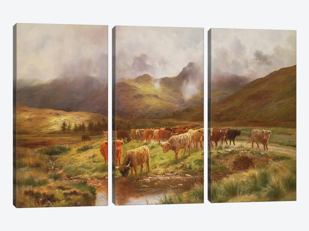 A Highland Drove at Strathfillan, Perthshire by Louis Bosworth Hurt 3-piece Art Print
