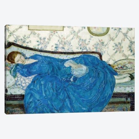 The Blue Gown, 1917 Canvas Print #BMN9380} by Frederick Carl Frieseke Canvas Artwork