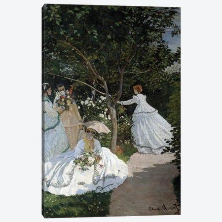 Women in the Garden a City of Avray Group of young women in a flower garden Canvas Print #BMN9384} by Claude Monet Canvas Art Print