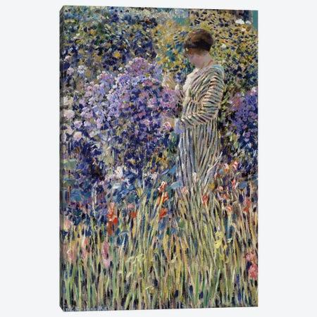 Woman in garden Canvas Print #BMN9386} by Frederick Carl Frieseke Canvas Art Print