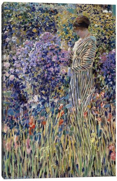 Woman in garden Canvas Art Print