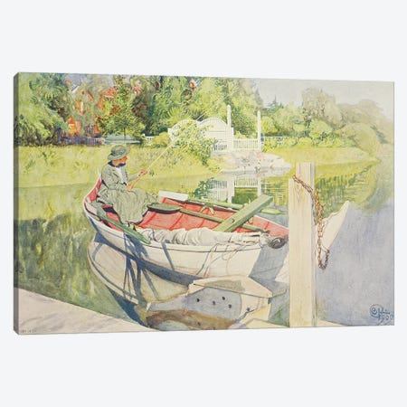 Fishing, 1909 Canvas Print #BMN9395} by Carl Larsson Canvas Wall Art