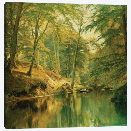 A Wooded River Landscape with Figures in a Boat, 1893 Canvas Print #BMN9397} by Christian Zacho Canvas Wall Art