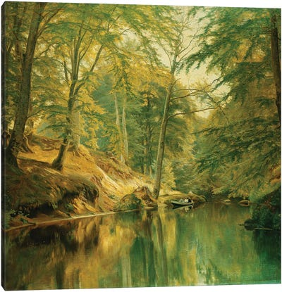 A Wooded River Landscape with Figures in a Boat, 1893 Canvas Art Print