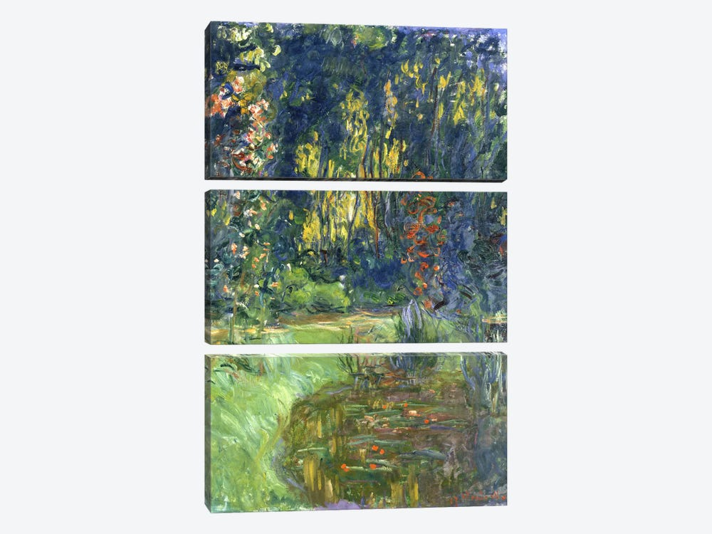 Garden of Giverny, 1923 by Claude Monet 3-piece Canvas Art Print