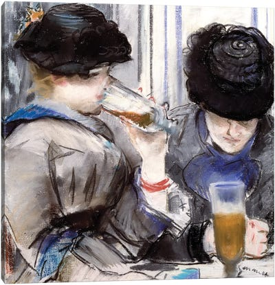 Women Drinking Beer, 1878 Canvas Art Print