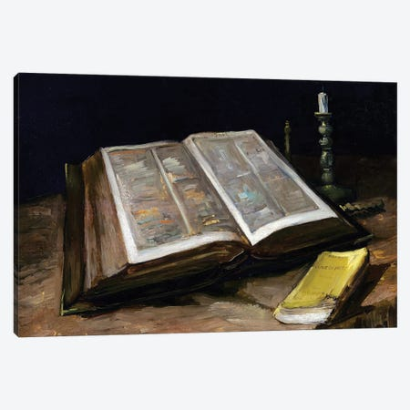 Still Life with Bible Canvas Print #BMN9413} by Vincent van Gogh Canvas Artwork