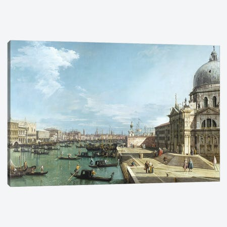 The Entrance to the Grand Canal and the church of Santa Maria della Salute, Venice Canvas Print #BMN9416} by Canaletto Canvas Art Print