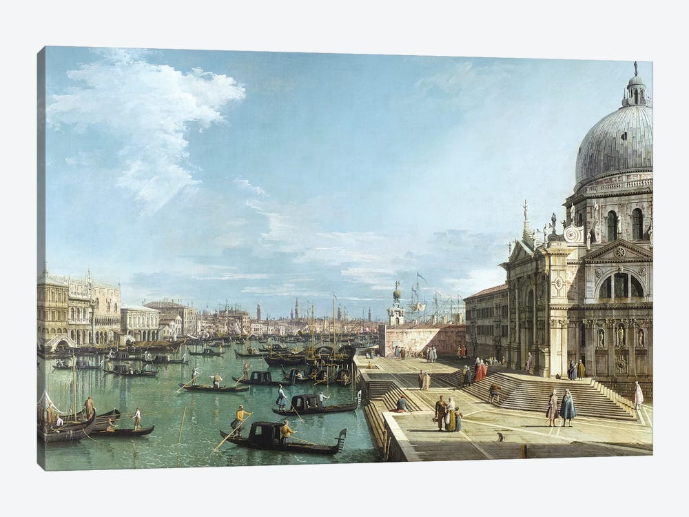 The Entrance to the Grand Canal and the church of Santa Maria della Salute, Venice by Canaletto 1-piece Canvas Artwork
