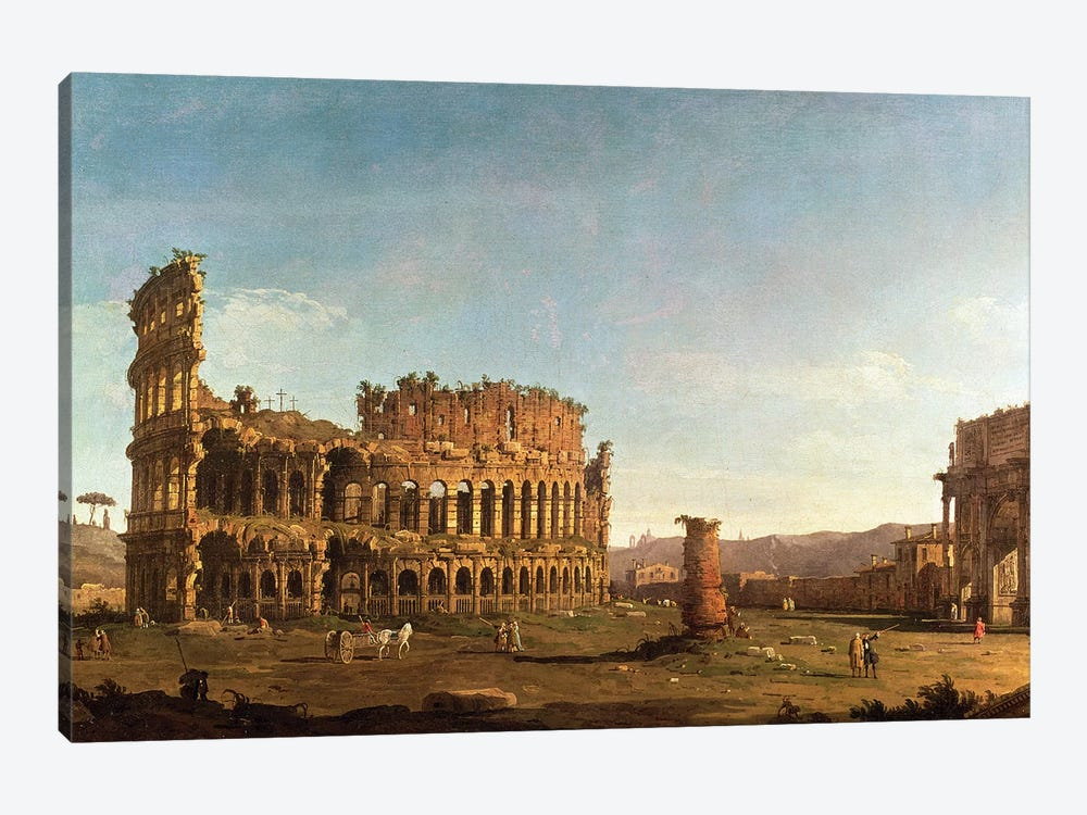 Colosseum and Arch of Constantine, Rome by Canaletto 1-piece Canvas Art Print