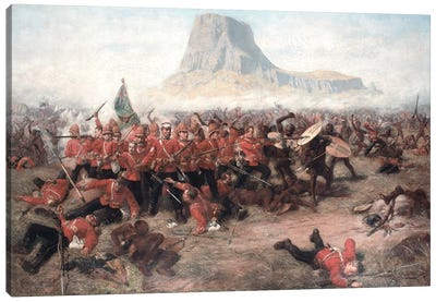 The Battle of Isandlwana: The Last Stand of the 24th Regiment of Foot  during the Zulu War, 22nd January 1879, c.1885 Canvas Art Print