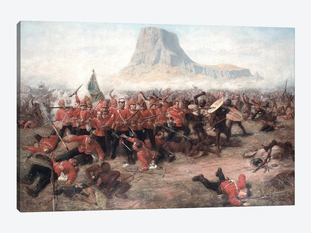 The Battle of Isandlwana: The Last Stand of the 24th Regiment of Foot  during the Zulu War, 22nd January 1879, c.1885 by Charles Edwin Fripp 1-piece Canvas Wall Art