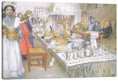 On Christmas Eve, the huge long table in the big hall is absolutely covered with the food Canvas Art Print