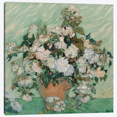 Roses, 1890 Canvas Print #BMN9438} by Vincent van Gogh Canvas Artwork