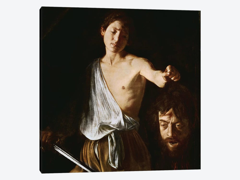 David with the Head of Goliath, 1606 1-piece Canvas Art