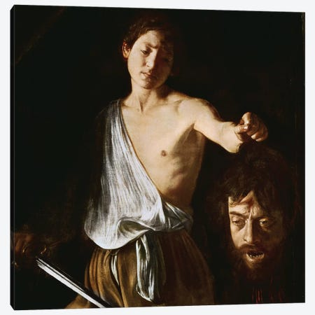 David with the Head of Goliath, 1606 Canvas Print #BMN9441} by Michelangelo Merisi da Caravaggio Canvas Print