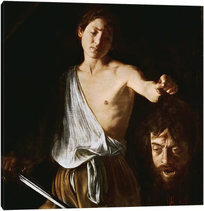 David with the Head of Goliath, 1606 Canvas Art Print