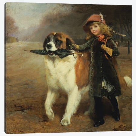 Off to School, 1883 Canvas Print #BMN9442} by Charles Burton Barber Canvas Print