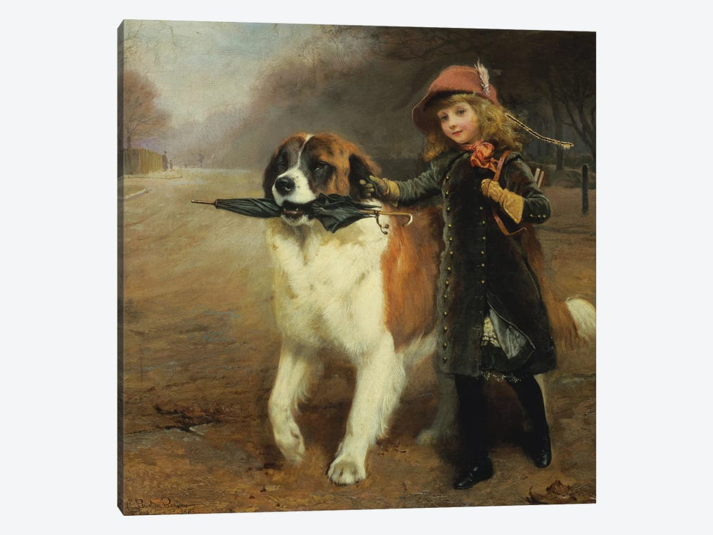 Off to School, 1883 by Charles Burton Barber 1-piece Canvas Art Print