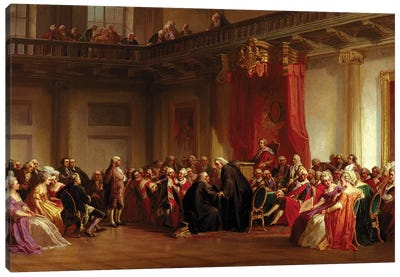 Benjamin Franklin Appearing before the Privy Council Canvas Art Print