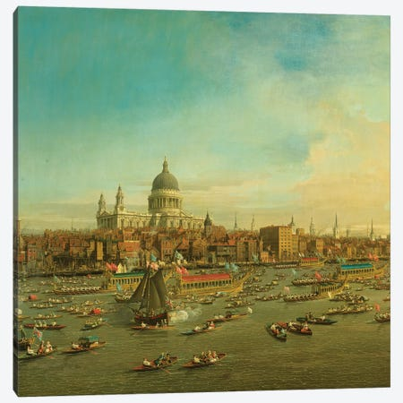 The River Thames with St. Paul's Cathedral on Lord Mayor's Day, c.1747-8 Detail Canvas Print #BMN9463} by Canaletto Art Print
