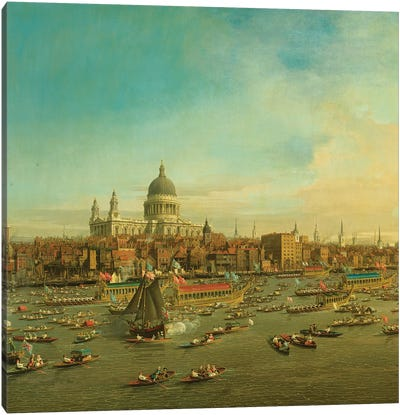 The River Thames with St. Paul's Cathedral on Lord Mayor's Day, c.1747-8 Detail Canvas Art Print