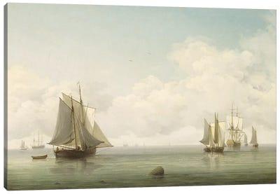 Fishing Boats in a Calm Sea, c.1745-59 Canvas Art Print