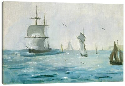 Fishing Boat Arriving, with the Wind Behind, 1864 Canvas Art Print