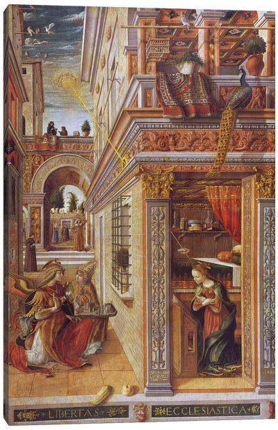 The Annunciation with St. Emidius, 1486 Canvas Art Print