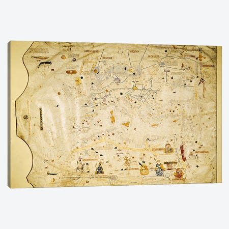 Map of Charles V, Map of Mecia de Viladestes, a portulan of Europe and North Africa, 1413  Canvas Print #BMN948} by Spanish School Canvas Print