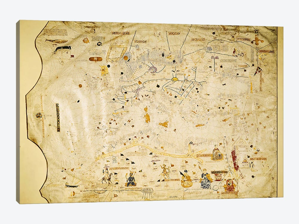Map of Charles V, Map of Mecia de Viladestes, a portulan of Europe and North Africa, 1413  by Spanish School 1-piece Canvas Art Print