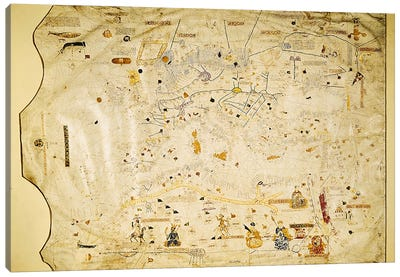 Map of Charles V, Map of Mecia de Viladestes, a portulan of Europe and North Africa, 1413  Canvas Art Print