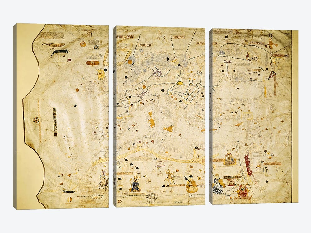 Map of Charles V, Map of Mecia de Viladestes, a portulan of Europe and North Africa, 1413  by Spanish School 3-piece Canvas Print