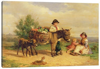 A Pause on the Way to Market Canvas Art Print