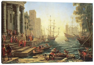 Seaport with the Embarkation of St. Ursula Canvas Art Print