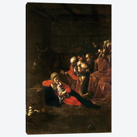 Adoration of the Shepherds Canvas Print #BMN9518} by Michelangelo Merisi da Caravaggio Canvas Art Print