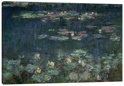 Waterlilies: Green Reflections, 1914-18  Canvas Art Print