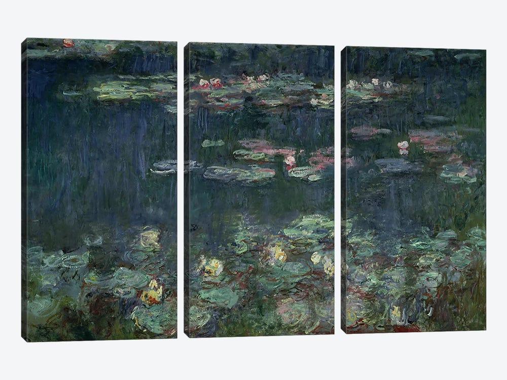 Waterlilies: Green Reflections, 1914-18  by Claude Monet 3-piece Canvas Art Print