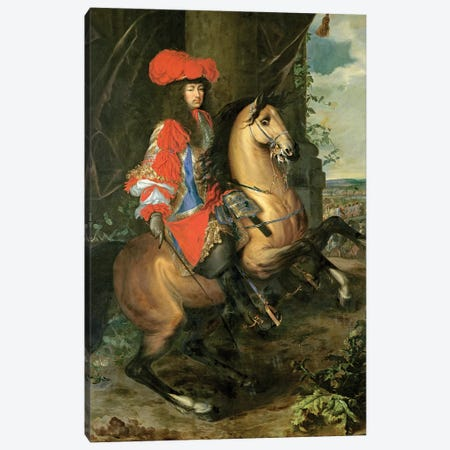 Equestrian Portrait of Louis XIV Canvas Print #BMN9521} by Charles Lebrun Canvas Artwork