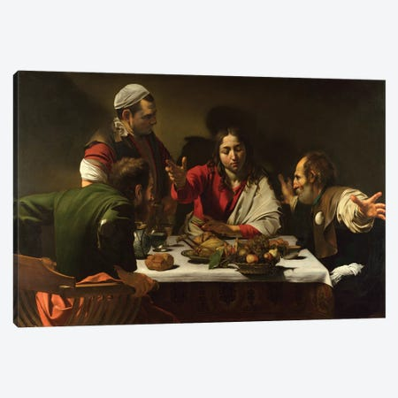 The Supper at Emmaus, 1601 Canvas Print #BMN9530} by Michelangelo Merisi da Caravaggio Art Print