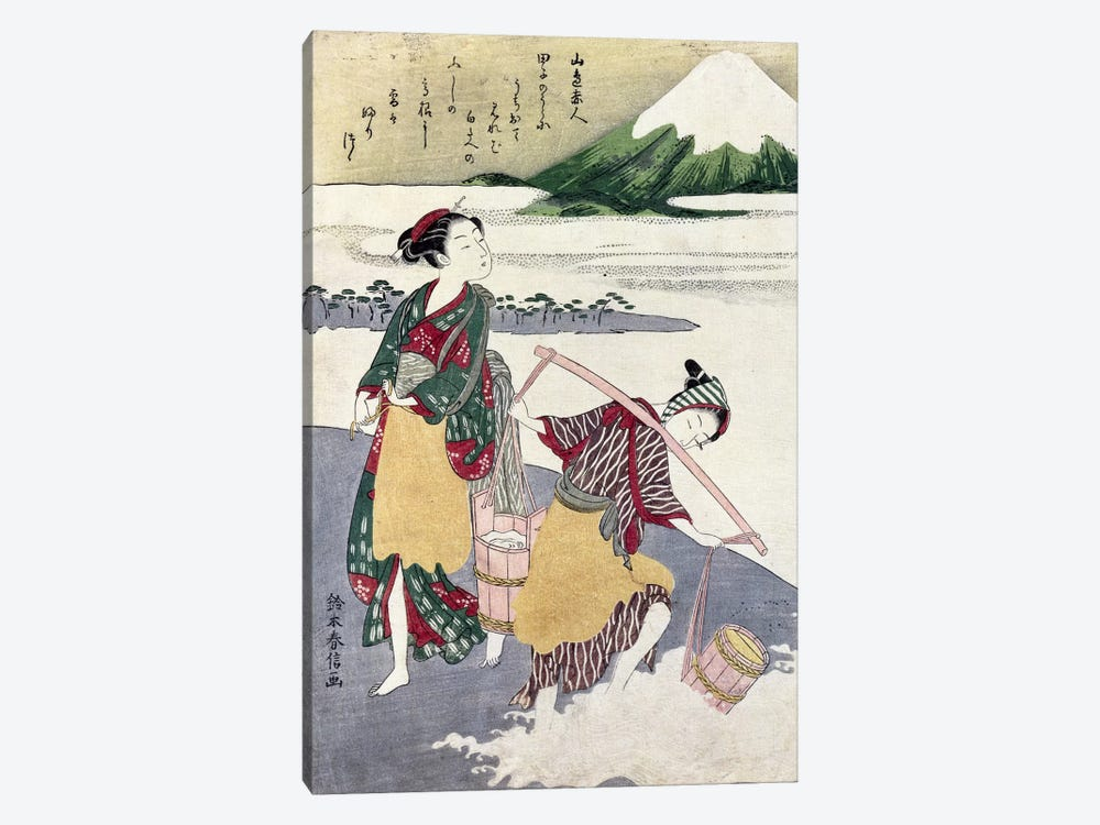 Salt Maidens on the Tago-no-ura Beach with Mt. Fuji Behind 1-piece Canvas Artwork